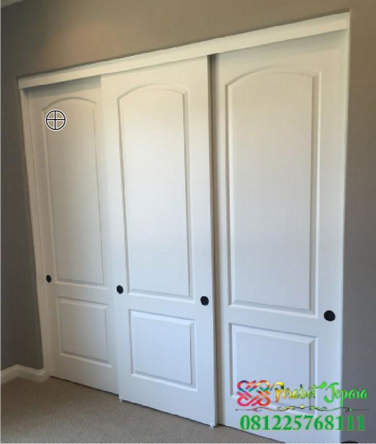 Contoh Pintu Rumah Modern 3 Pintu Sliding Cat Duco Putih