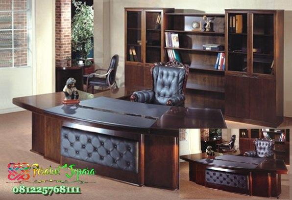 Model Set Meja Kantor Minimalis Klasik Kayu Jati