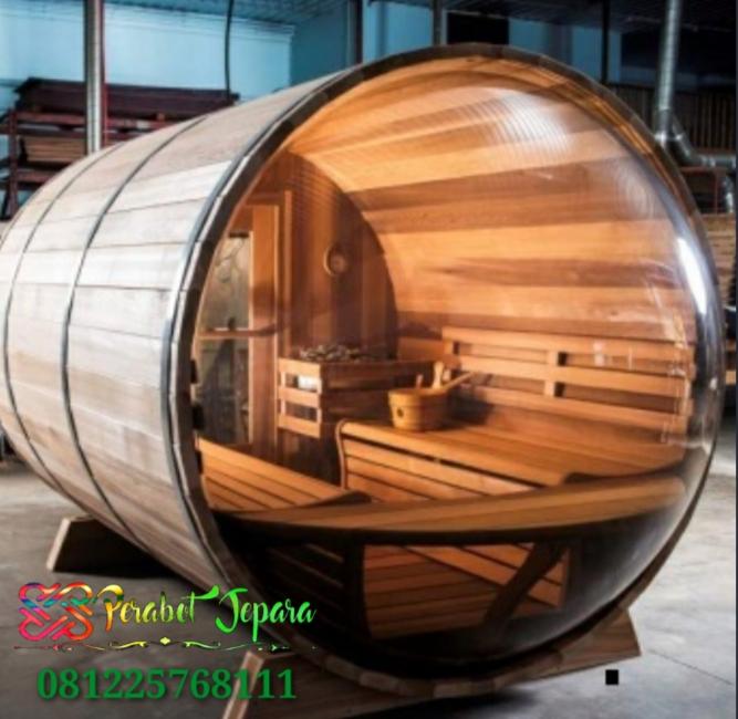 Harga Ruang Sauna Kayu Jati Model Kapsul Kaca