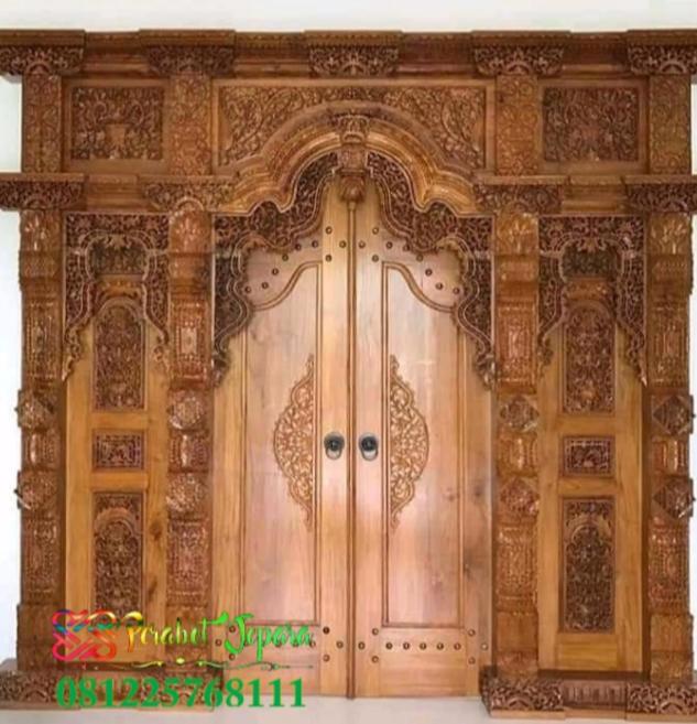 Pintu gebyok ukiran standar kayu jati
