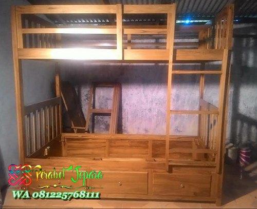 Tempat tidur tingkat kayu laci sorong laci sorong