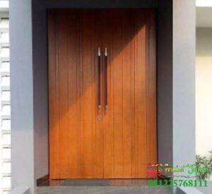 Pintu Depan Minimalis Jati Warna Cocoa