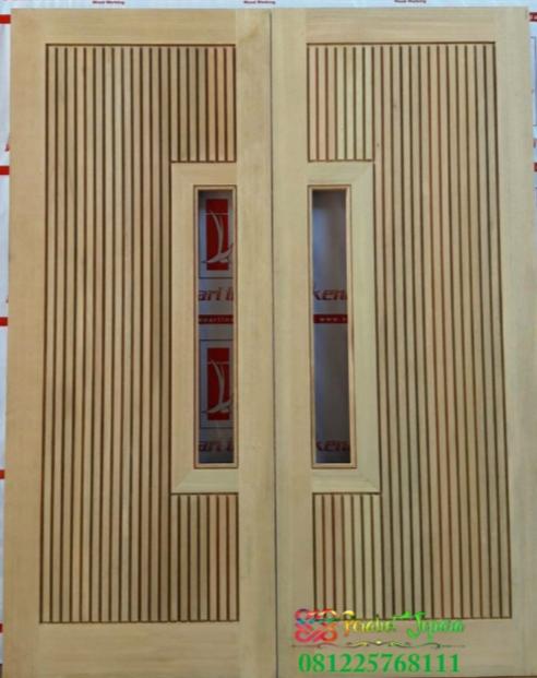 Pintu Double Kaca Tengah Motif Salur