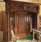 Pintu Gapura Depan Rumah Mewah Ukiran Jati Jepara