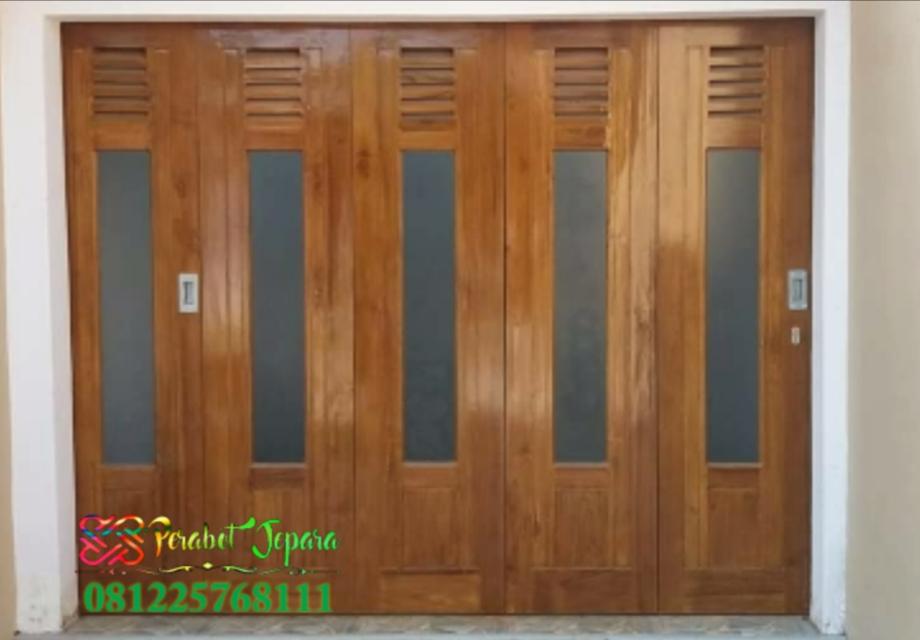 Pintu Garasi Minimalis Sliding Kayu Jati Terbaru