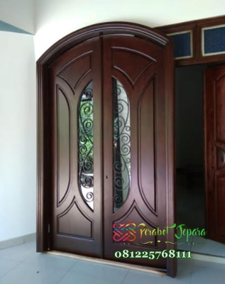 Pintu Minimalis Modern Lengkung Jati Jepara